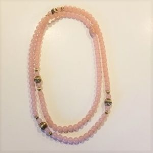 """Pink Beaded Necklace 30"""""""